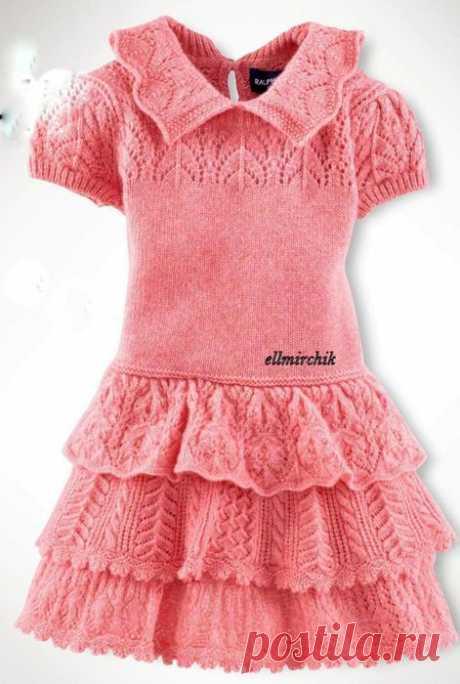 Платье с ажурными оборками для девочки.