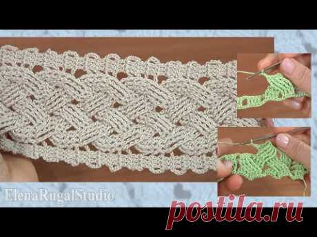 Аранское вязание крючком, широкая коса  Урок 15 Подробный мастер-класс