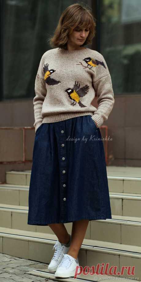 Свитер из шерсти с птичками, свитер с анималистичным рисунком – купить в интернет-магазине на Ярмарке Мастеров с доставкой - GQJGXRU | Днепр