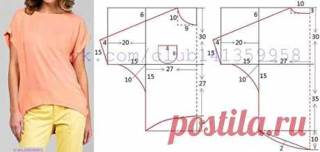 """Блузка с рукавами """"летучая мышь"""" и удлиненной спинкой. Выкройка на размер 42-44 (рос.). #простыевыкройки #простыевещи #шитье #блузка #блуза #выкройка"""