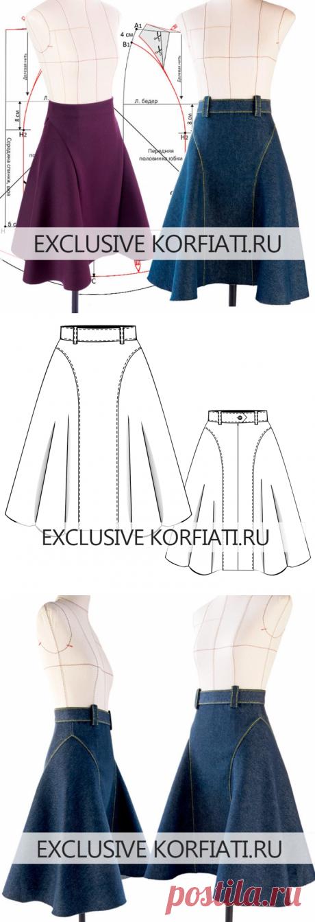 Моделирование выкройки расклешенной юбки от Анастасии Корфиати