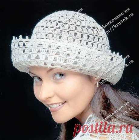 Ажурная льняная шляпка, связанная крючком - вязание крючком на kru4ok.ru