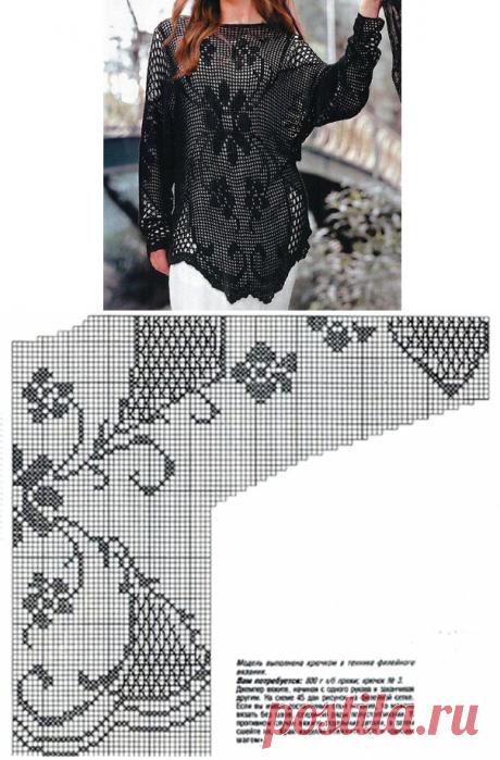 Филейная туника с цветочным узором. Схема