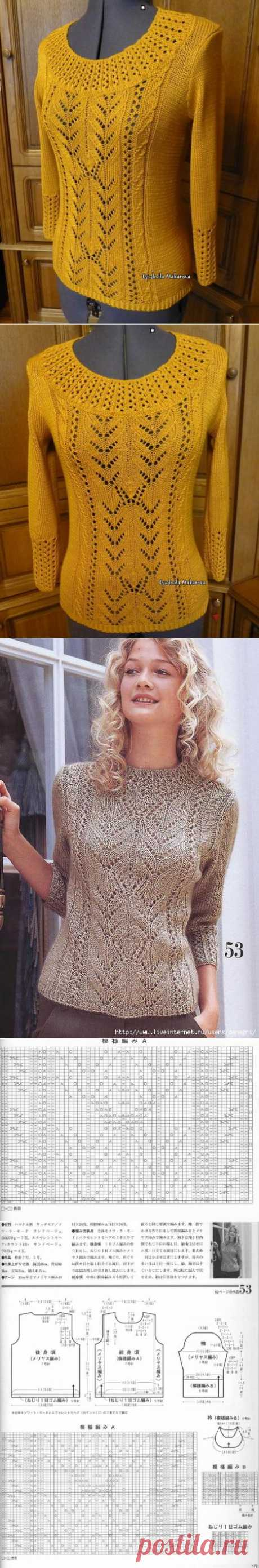 Пуловер спицами..