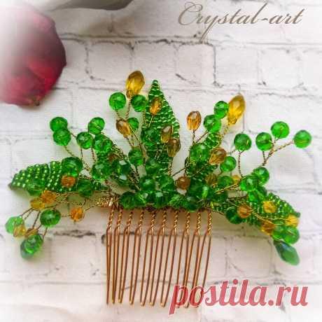 Crystal_art в Instagram: «Гребень для прически ручной работы. Гребень выполнен из изумрудных и жёлтых хрустальных бусин, ювелирной проволоки золотистого цвета.…»