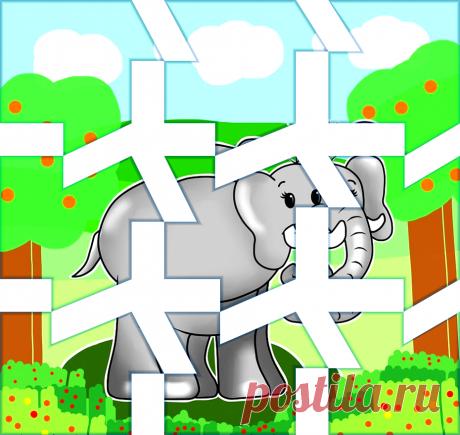 Симпатичный слоник. Разрезной пазл для ребёнка
