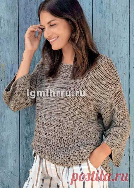Свободный пуловер с жасминовым узором. Вязание крючком со схемами и описанием