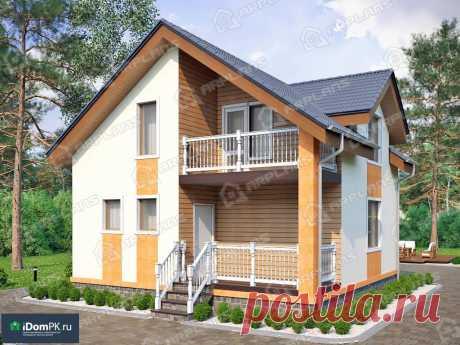 p1730rb – проект дома 8 на 8 из блоков с мансардой и балконом над крыльцом