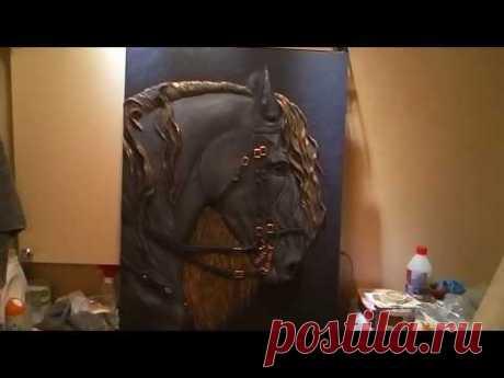 Барельеф,рельеф,конь,гипс,акрил. Bas-relief, relief, horse, gypsum, acrylic. - YouTube