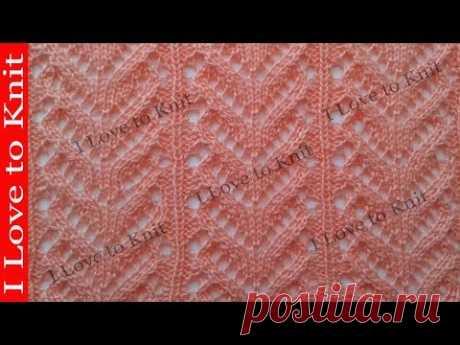 Ажурный узор папоротник Вязание спицами со схемой и описанием