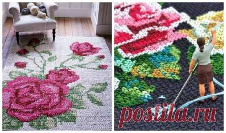 Уютные коврики своими руками: вяжем, вышиваем, мастерим из подручных материалов