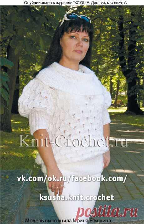Женский пуловер с рукавом «фонарик», вязанный на спицах.