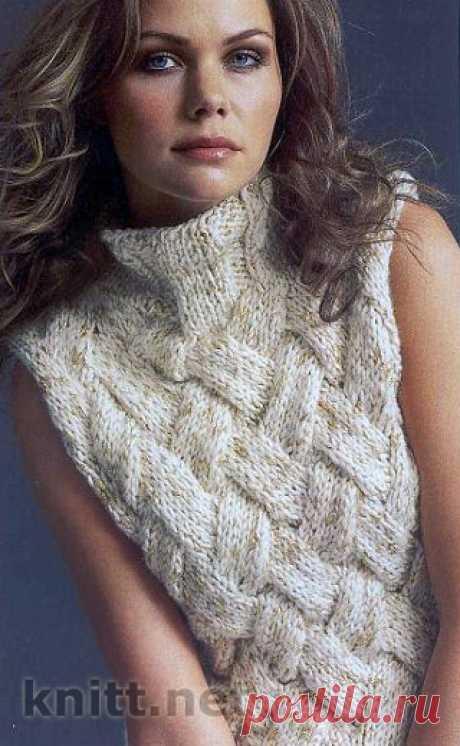 Безрукавка спицами узор плетенка
