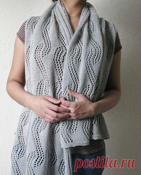 Эффектный шарф-палантин спицами из категории Интересные идеи – Вязаные идеи, идеи для вязания