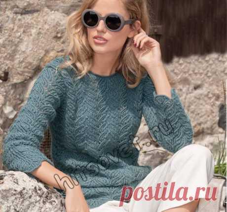 Вязание спицами пуловера - Хитсовет Вязание спицами пуловера. Модная модель женского пуловера с красивым ажурным узором со схемой и бесплатным описанием вязания.