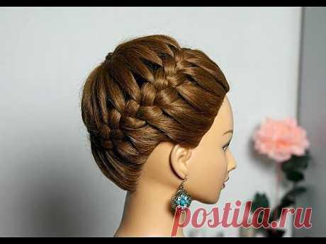 """▶ Прическа на длинные и средние волосы """"Корзинка"""". Плетение косы вокруг головы. - YouTube"""