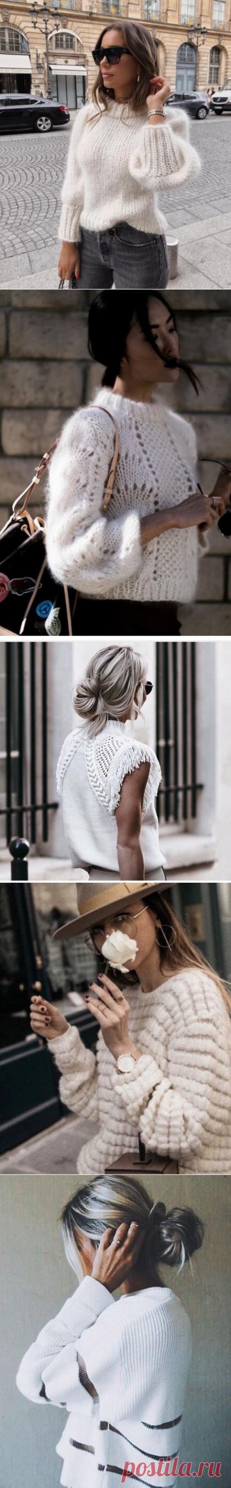 Милые светлые свитерки — Красота и мода