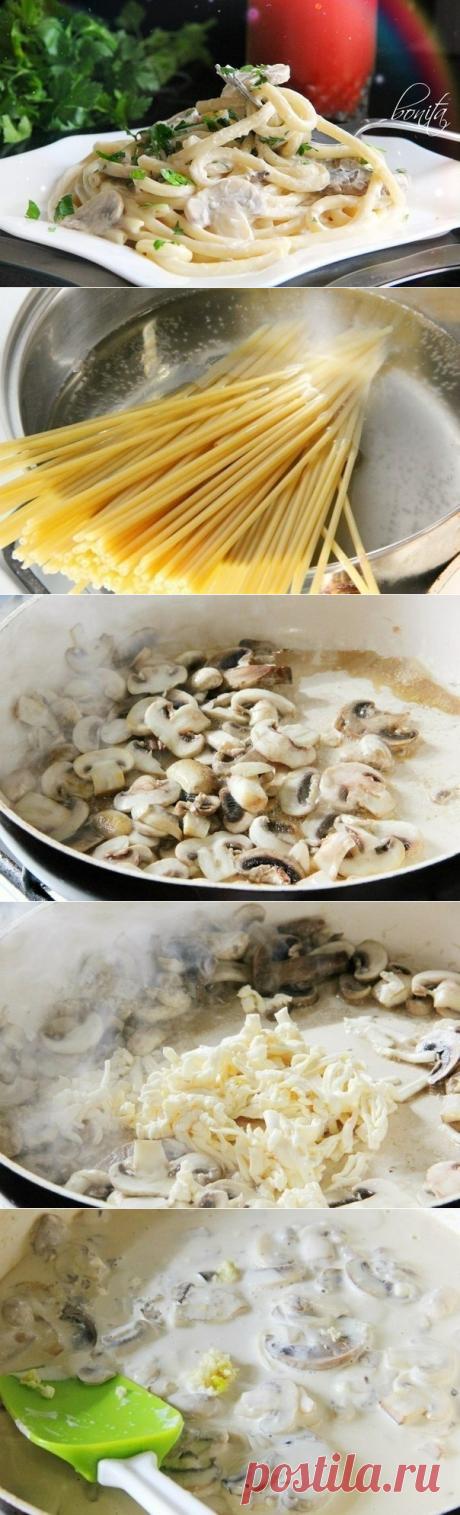 Как приготовить спагетти с грибами в сливочном соусе. - рецепт, ингридиенты и фотографии