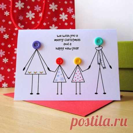 Необычные открытки с использованием пуговиц