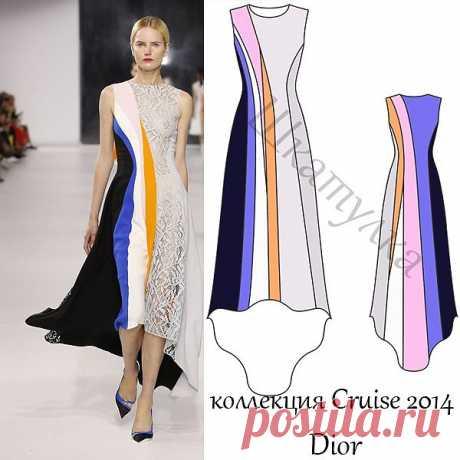 Выкройка вечернего платья Dior.