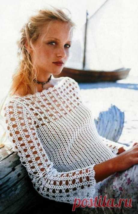Белая блузка крючком. Пять размеров, схемы вязания
