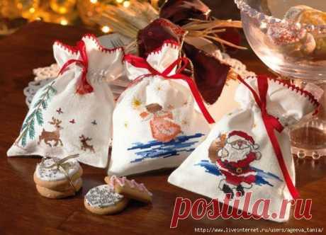 Рождественские мешочки - схемы вышивки.