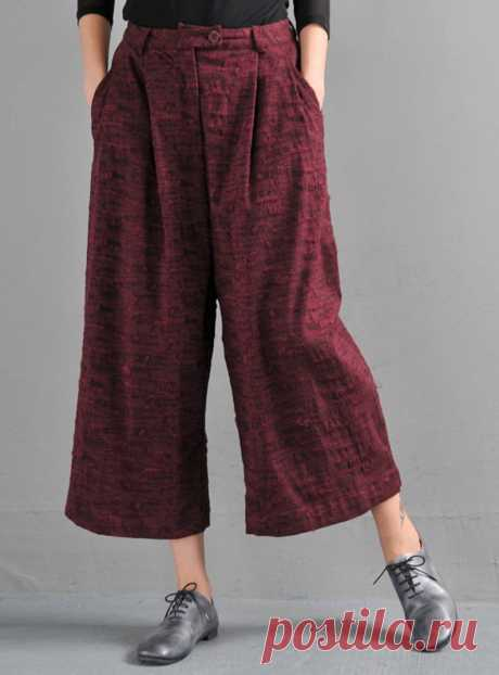 Red wine Jacquard wide-leg pants-straight-leg pants-Pants | Etsy