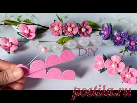 Цветы из глиттерного фоамирана за 5 минут Заколка Клик Клак DIY Glitter Foam Flower