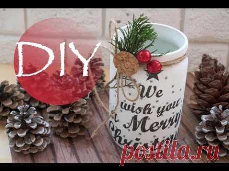 Новогодний DIY, легко и красиво, подсвечник  / DIY Christmas - YouTube