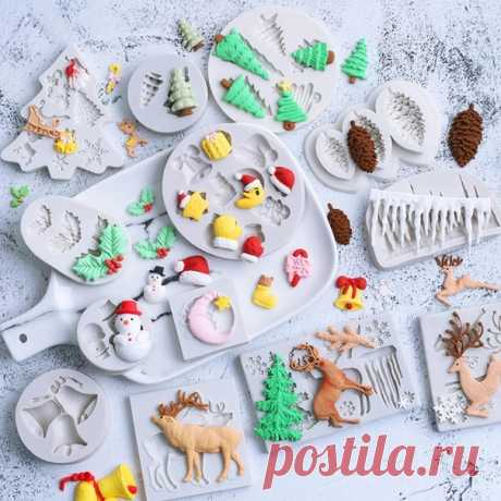 Рождественская серия силиконовых форм для украшения торта, для шоколада и мастики  Форма четкая, качественная ============================ https://s.click.aliexpress.com/e/kBloyctE?product_id=..
