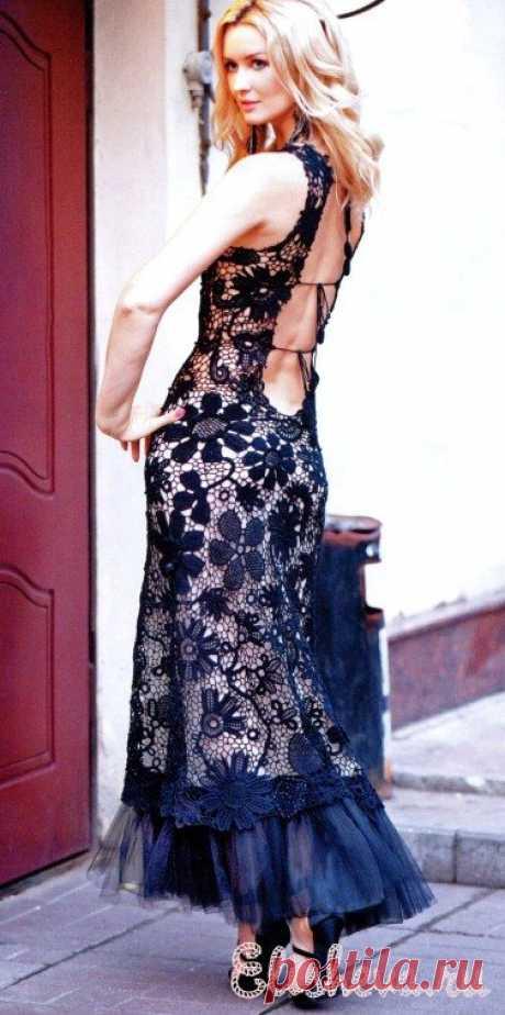 Ажурное черное вечернее платье вязаное крючком | Блог elisheva.ru
