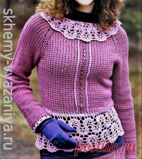 Жакет в стиле Шанель с кружевной баской и воротничком. Схема вязания и описание крючком