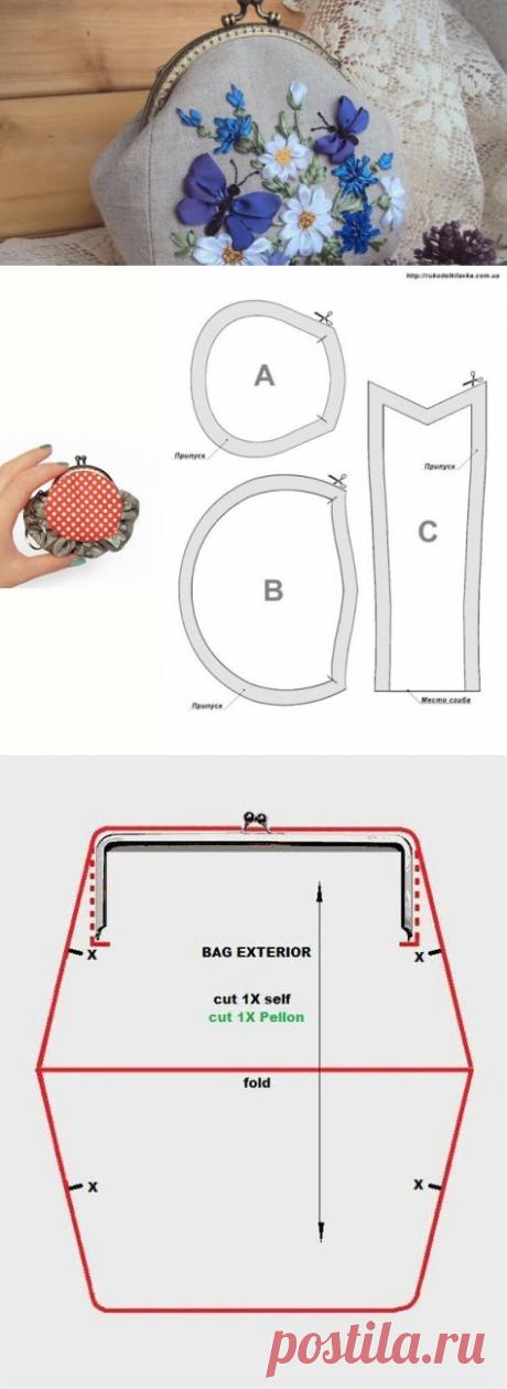 Маленькие хитрости портняжного ремесла.: Выкройки/лекала для сумочек/кошельков с застежкой-фермуаром.