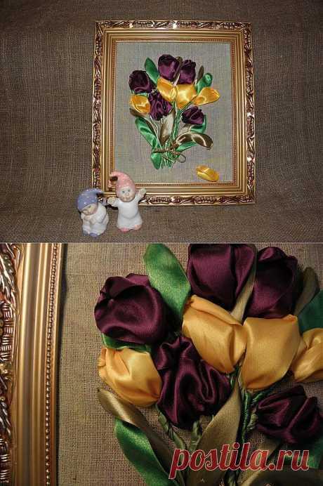 Букет тюльпанов. Вышивка лентами. / Цветочное настроение / PassionForum - мастер-классы по рукоделию