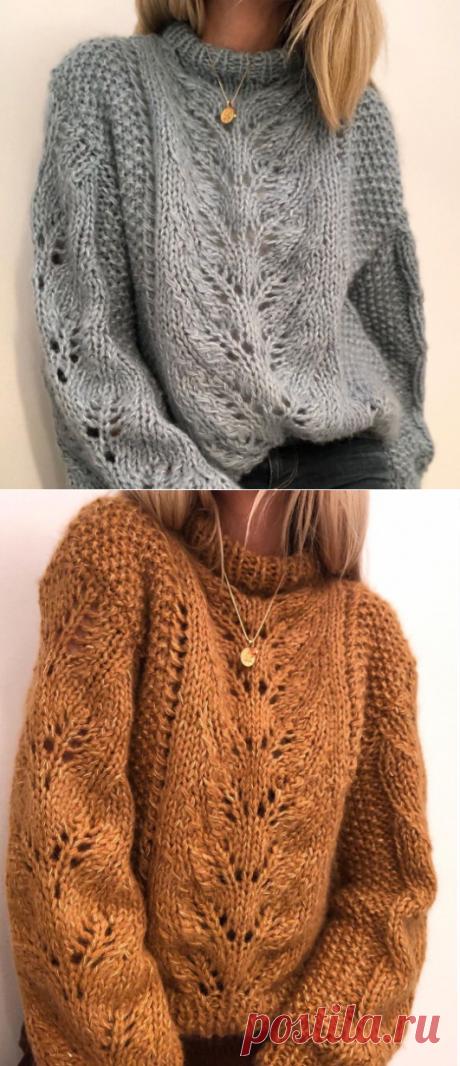 Пуловер спицами для женщин - схема и описание