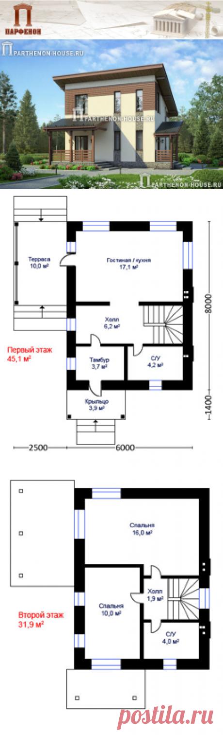 Проект небольшого дома из кирпича ПА-63П  Площадь общая: 63,10 кв.м. + 13,92 кв.м. Высота 1 этажа: 2,720 м. Высота 2 этажа: от 1,600 м. до 3,500 м.   Технология и конструкция: строительство дома из кирпича. Фундамент: монолитная ж/б плита. Стены: кладка 380 мм из поризованного кирпича. Перекрытия дома: по деревянным балкам. Конструкция крыши и кровля: мансардная, покрытие - металлочерепица. Наружная отделка: камень, штукатурка, дерево.