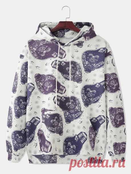 Mens Astronaut Print Kangaroo Pocket Long Sleeve Drawstring Hoodies - US$29.99