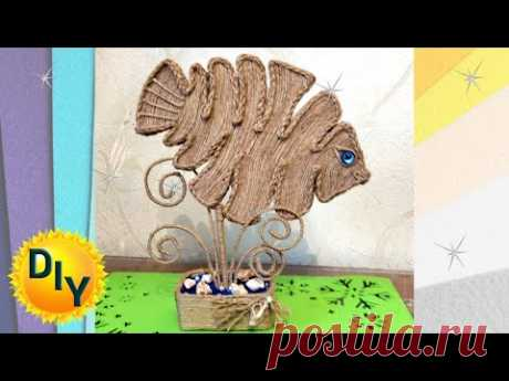 Топиарий - рыбка из джута. DIY/рукоделие. #джут #рукоделие