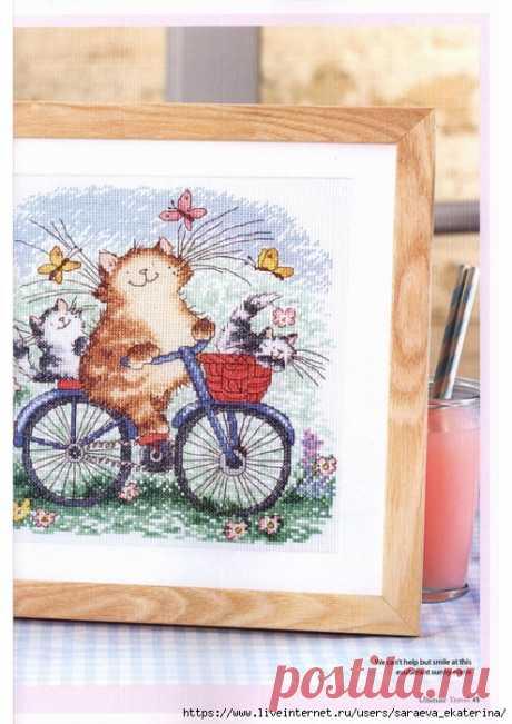 """Вышивка """"Кот на велосипеде"""""""
