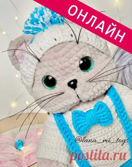 Запись на онлайн вязание Кота Аркадия от LanaMi toys в Instagram