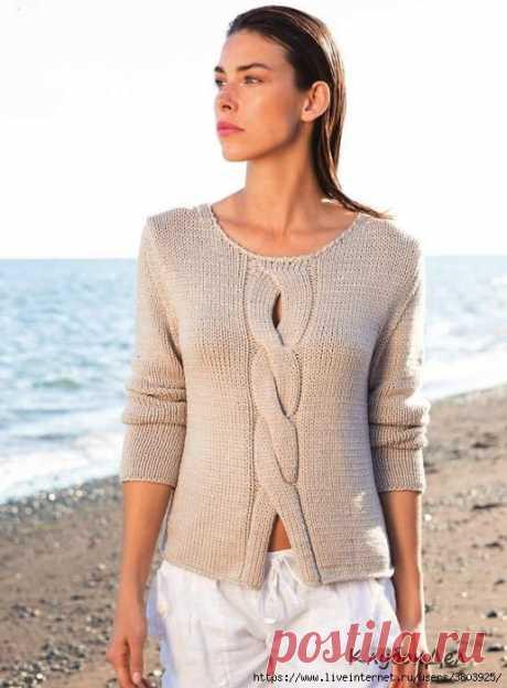 Пуловер с «косой» по центру - невозможно не связать такой пуловер