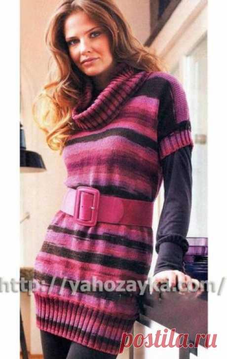 Платье с воротником хомут - схема вязания + фото и описание Схема вязания спицами платья с воротником хомут - вязание для домохозяек.