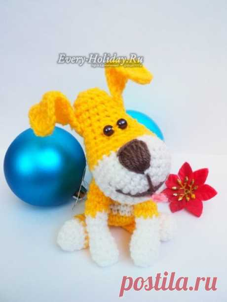 How to connect an amiguruma doggie by a hook, a symbol of 2018: master class