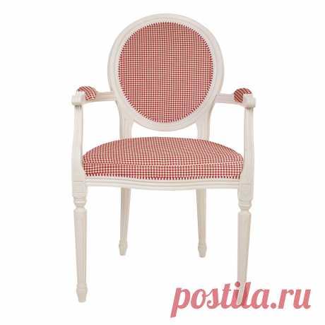 LN36-Plaid Стул - кресло с подлокотниками Клетка в стиле Прованс купитьУголок Прованса +7 (499) 390-04-39