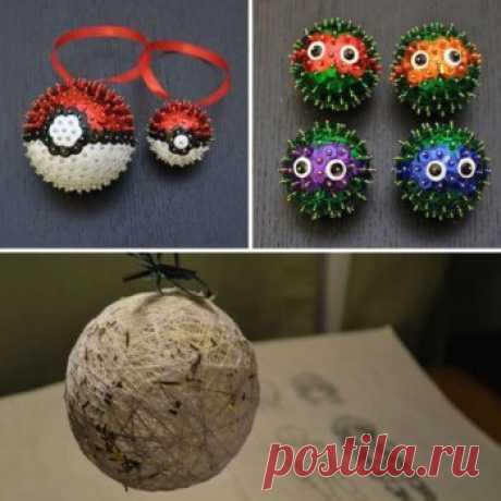 Самодельные елочные шары из различных материалов — Своими руками