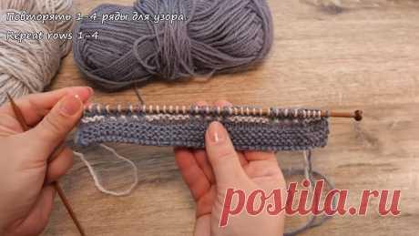 Двухцветный узор для мужского шарфа спицами 🧣 Two color knit scarf pattern
