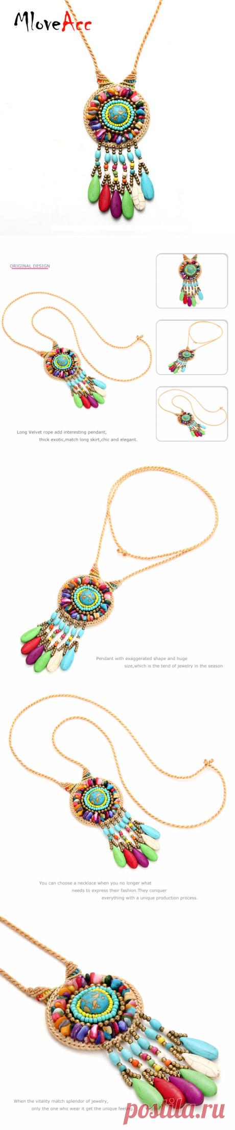 Mloveacc Богемия многоцветный камень Бусины Подвески для Для женщин бренд Винтаж ручной работы, плетеные заявление Цепочки и ожерелья отпуск купить на AliExpress