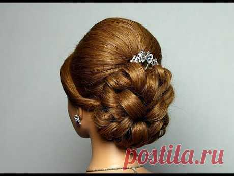 ▶ Свадебная, вечерняя прическа, прическа на выпускной на длинные волосы. Wedding prom hairstyle - YouTube