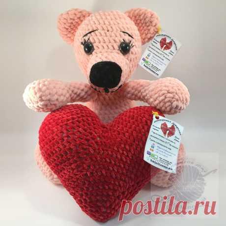 Плюшевый мишка с сердцем в руках, Игрушка, персиковый, 36 смПлюшевый мир Мастерская игрушек Анны Ганоцкой