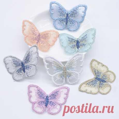 Бабочки 33*44 мм 10 шт, 9  цветов + микс